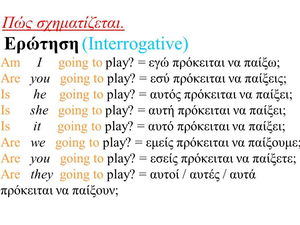 Πώς σχηματίζεται. Ερώτηση (Interrogative) Am I going to play