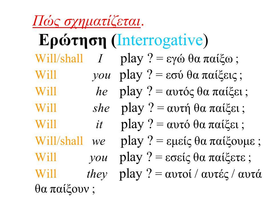 Πώς σχηματίζεται. Ερώτηση (Interrogative) Will/shall I play