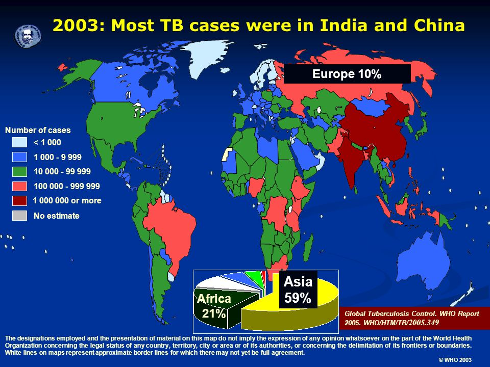 2003: Most TB cases were in India and China