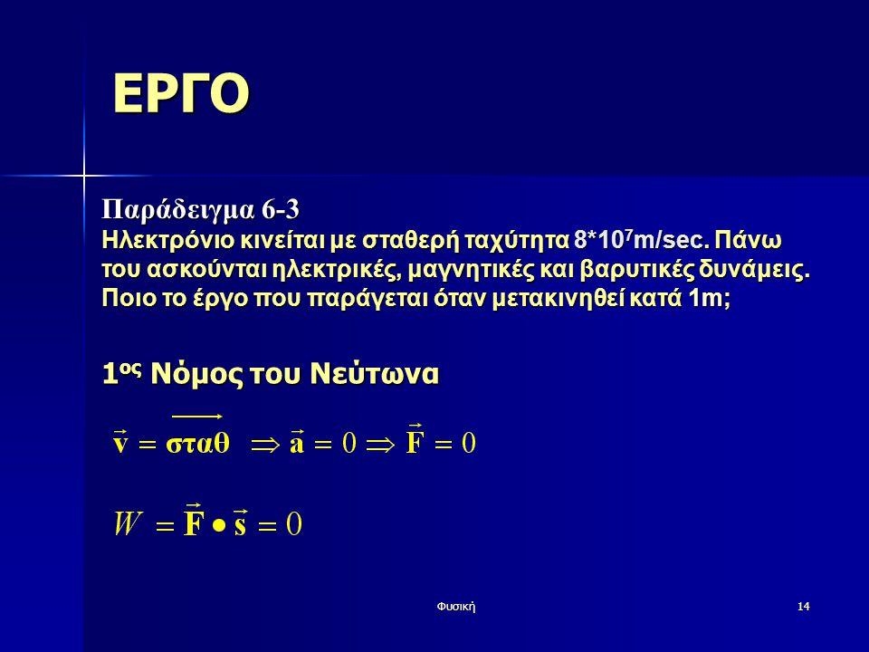 ΕΡΓΟ Παράδειγμα 6-3 1ος Νόμος του Νεύτωνα