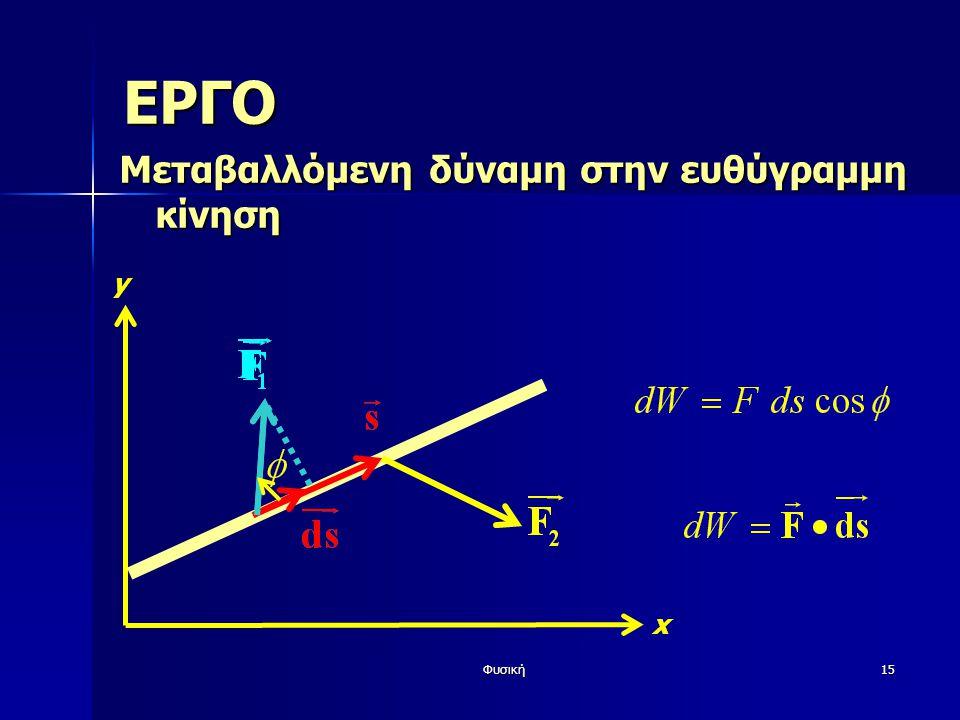 ΕΡΓΟ Μεταβαλλόμενη δύναμη στην ευθύγραμμη κίνηση y x Φυσική