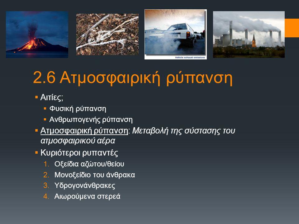 2.6 Ατμοσφαιρική ρύπανση Αιτίες;