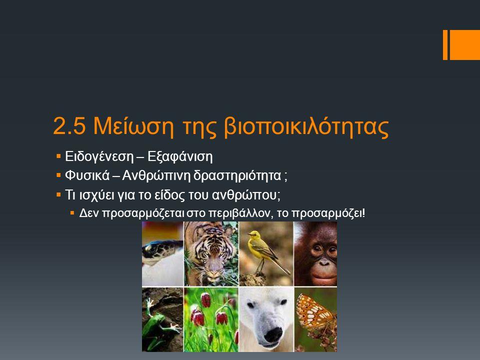 2.5 Μείωση της βιοποικιλότητας