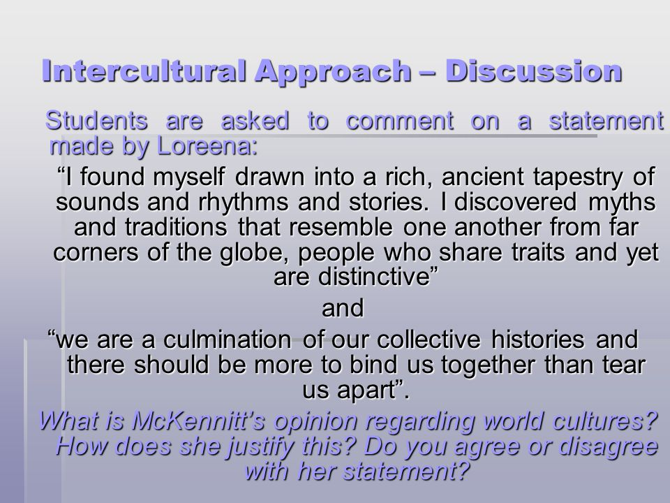 Intercultural Approach – Discussion