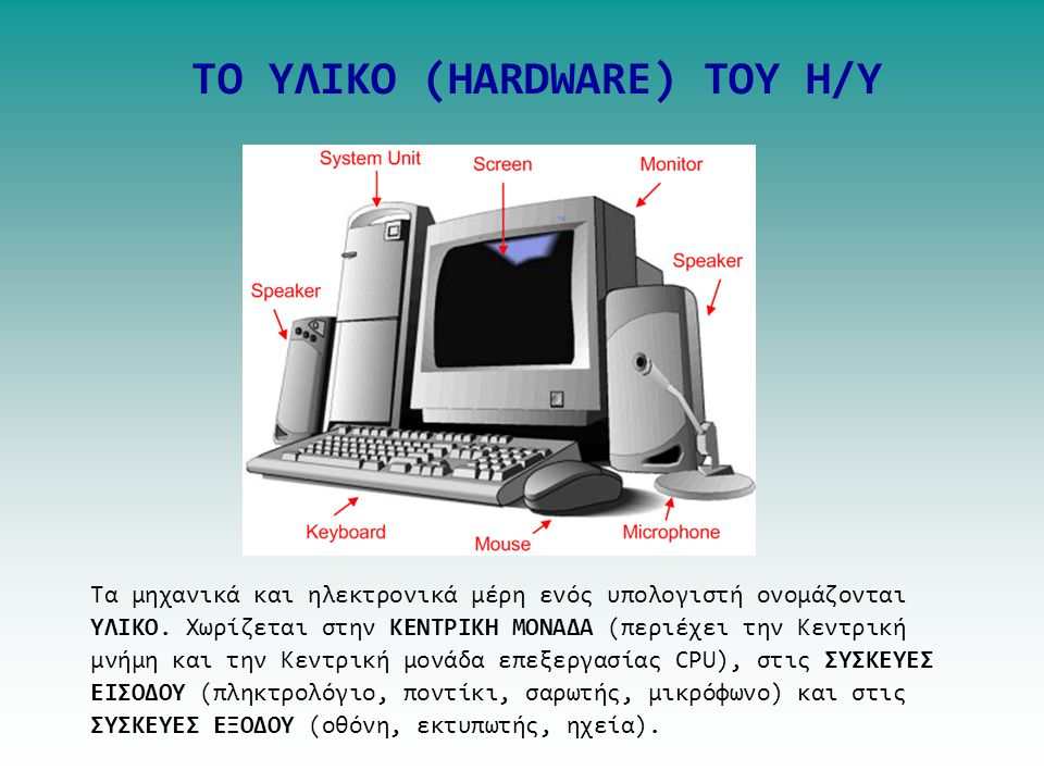 TO ΥΛΙΚΟ (HARDWARE) TOY H/Y