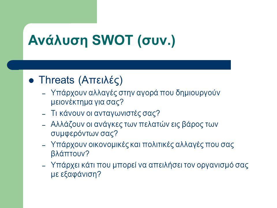 Ανάλυση SWOT (συν.) Threats (Απειλές)