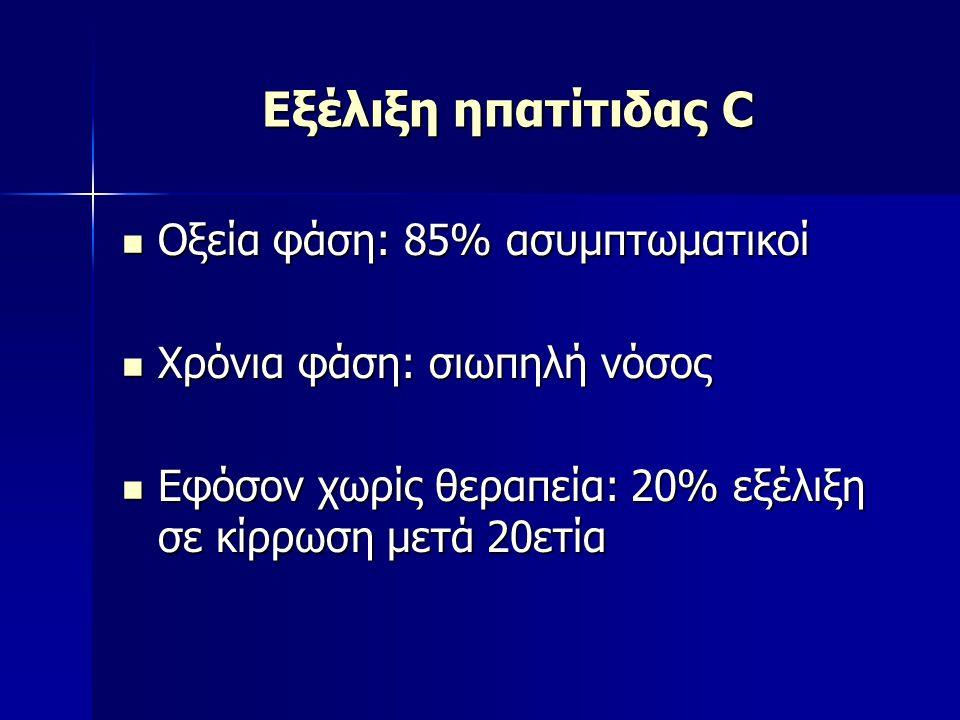 Εξέλιξη ηπατίτιδας C Οξεία φάση: 85% ασυμπτωματικοί