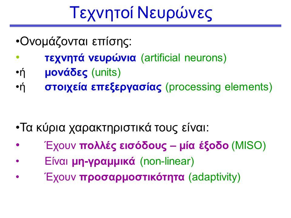 Τεχνητοί Νευρώνες Ονομάζονται επίσης: