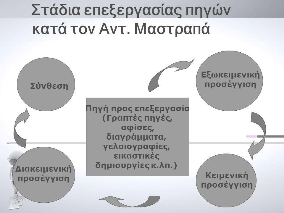 Στάδια επεξεργασίας πηγών κατά τον Αντ. Μαστραπά