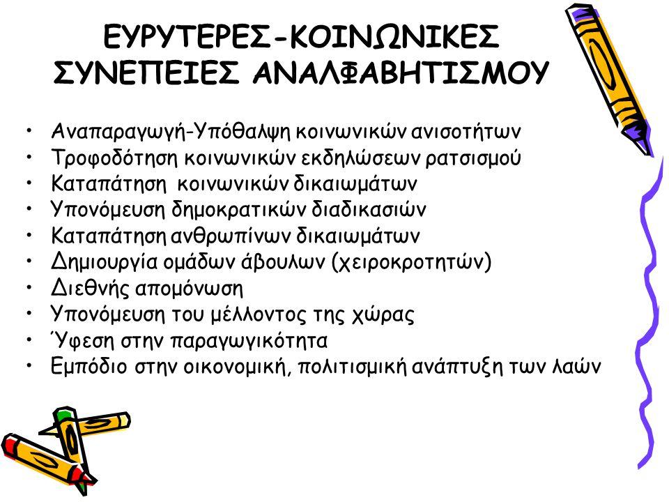 ΕΥΡΥΤΕΡΕΣ-ΚΟΙΝΩΝΙΚΕΣ ΣΥΝΕΠΕΙΕΣ ΑΝΑΛΦΑΒΗΤΙΣΜΟΥ