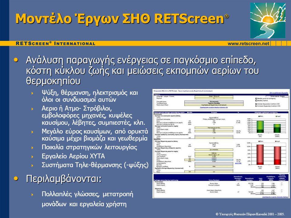 Μοντέλο Έργων ΣΗΘ RETScreen®
