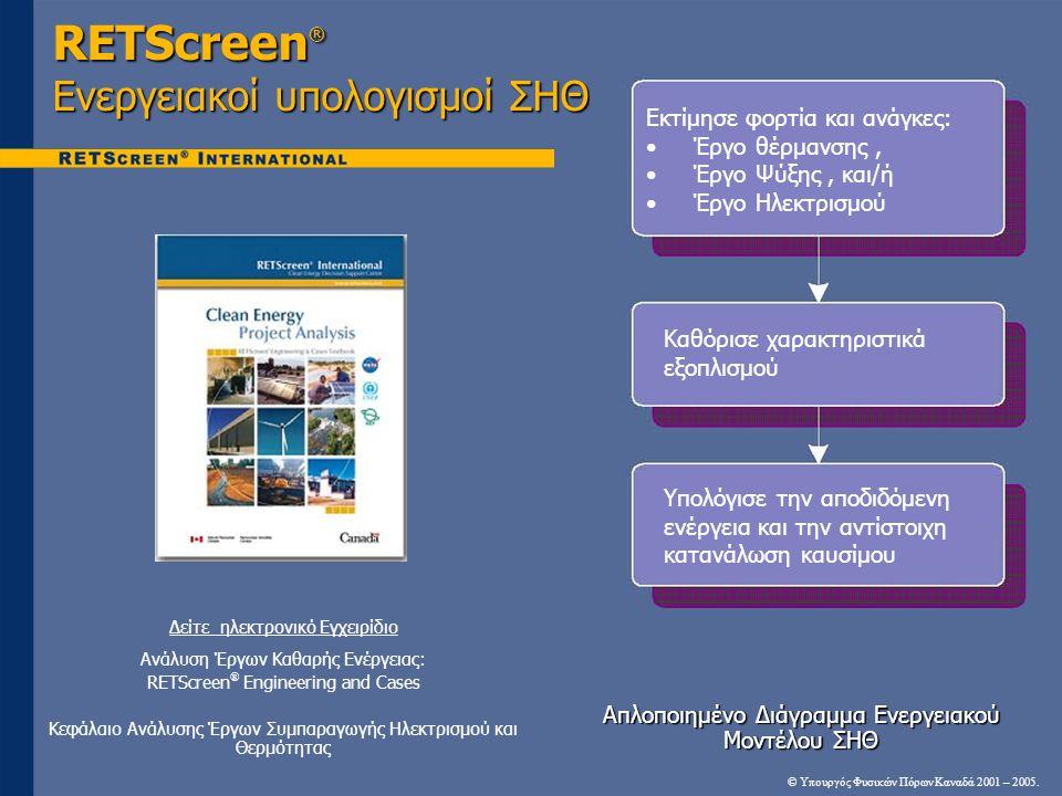 RETScreen® Ενεργειακοί υπολογισμοί ΣΗΘ