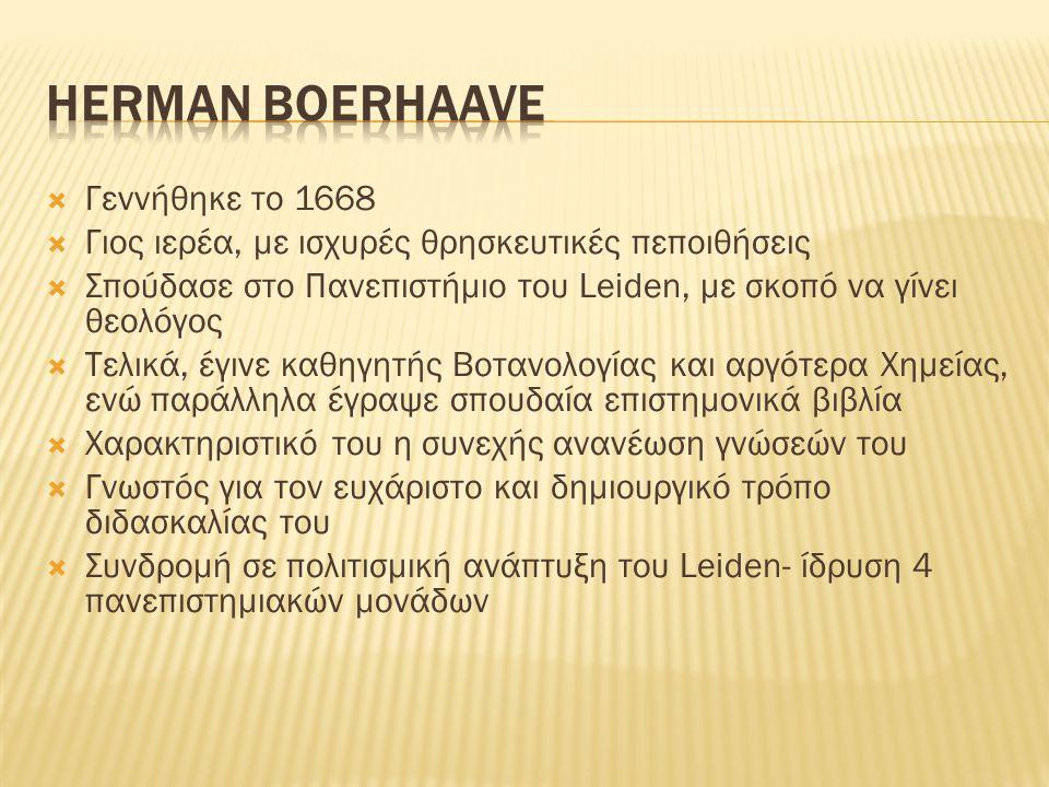 Herman Boerhaave Γεννήθηκε το 1668