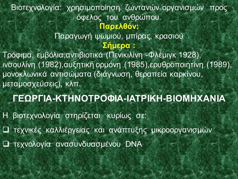 ΓΕΩΡΓΙΑ-ΚΤΗΝΟΤΡΟΦΙΑ-ΙΑΤΡΙΚΗ-ΒΙΟΜΗΧΑΝΙΑ