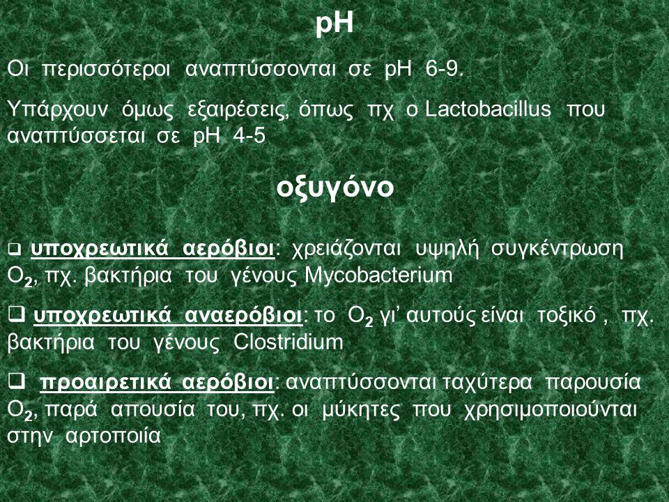 pH οξυγόνο Οι περισσότεροι αναπτύσσονται σε pH 6-9.