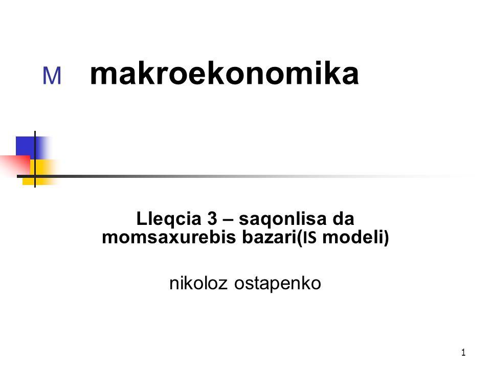 Lleqcia 3 – saqonlisa da momsaxurebis bazari(IS modeli)