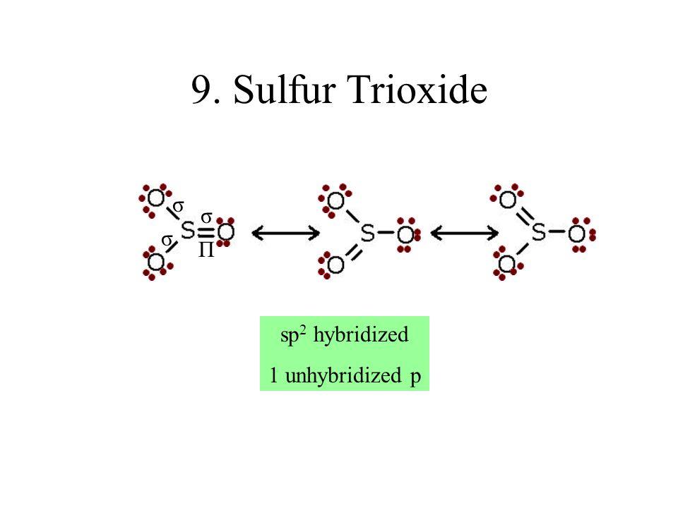 9. Sulfur Trioxide σ σ σ Π sp2 hybridized 1 unhybridized p