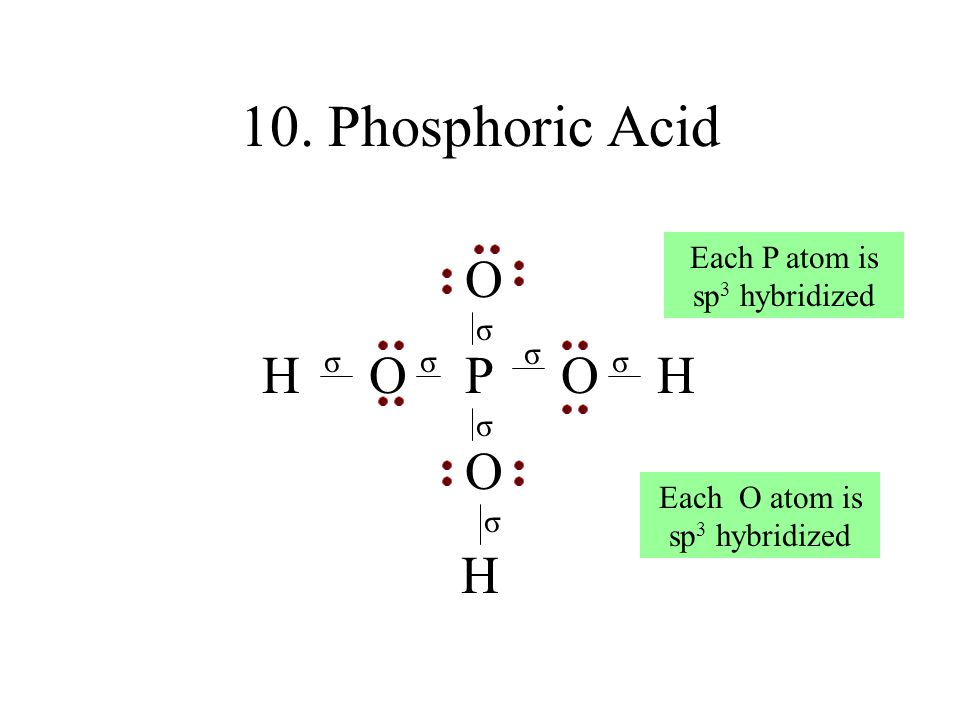 10. Phosphoric Acid O O P O H H H Each P atom is sp3 hybridized σ σ σ