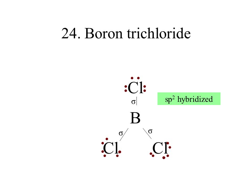 24. Boron trichloride Cl B Cl Cl sp2 hybridized σ σ σ