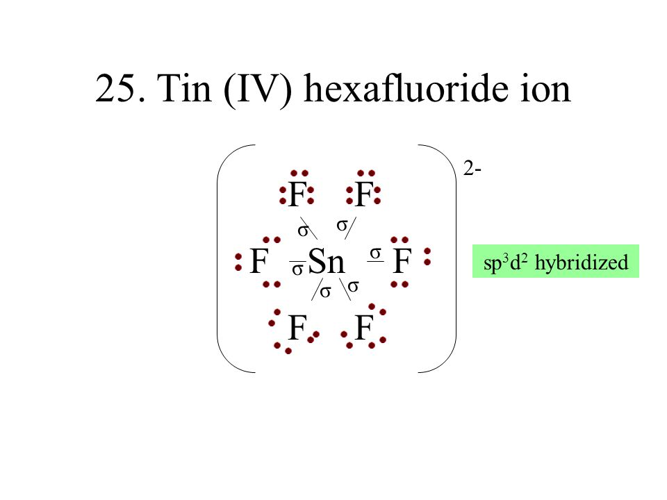 25. Tin (IV) hexafluoride ion