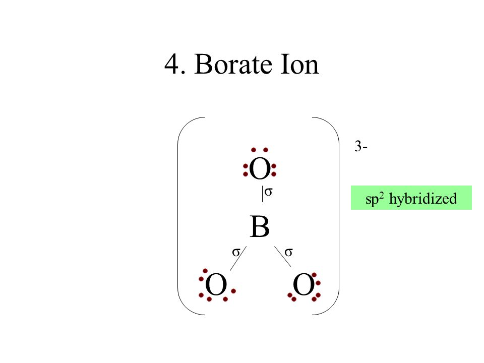4. Borate Ion 3- O B O O σ sp2 hybridized σ σ