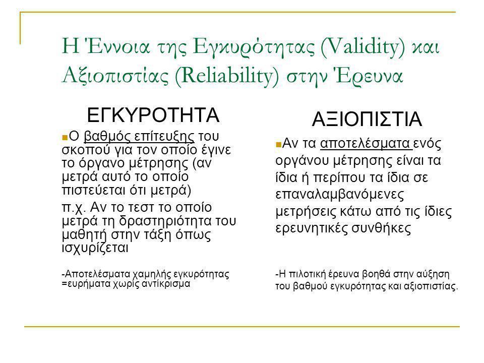 Η Έννοια της Εγκυρότητας (Validity) και Αξιοπιστίας (Reliability) στην Έρευνα