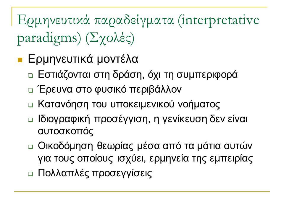 Ερμηνευτικά παραδείγματα (interpretative paradigms) (Σχολές)