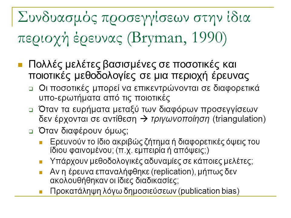 Συνδυασμός προσεγγίσεων στην ίδια περιοχή έρευνας (Bryman, 1990)