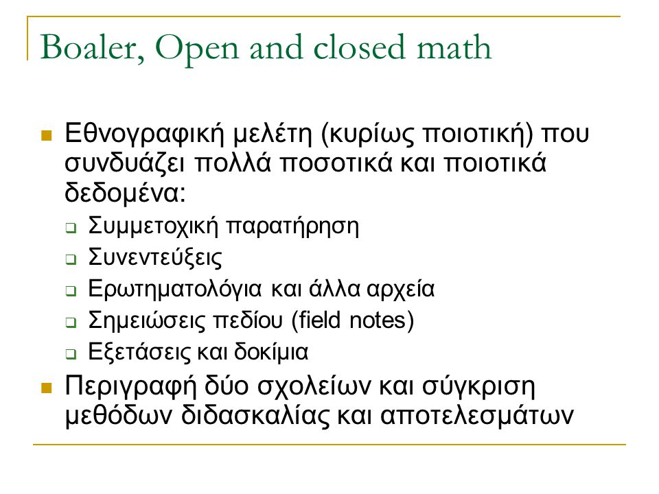 Boaler, Open and closed math