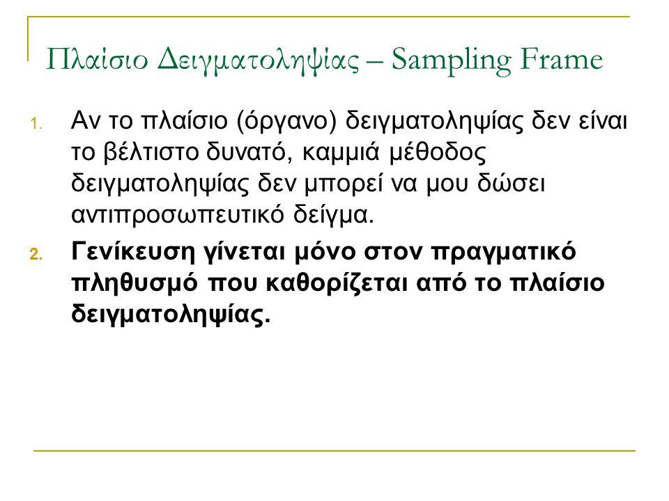 Πλαίσιο Δειγματοληψίας – Sampling Frame