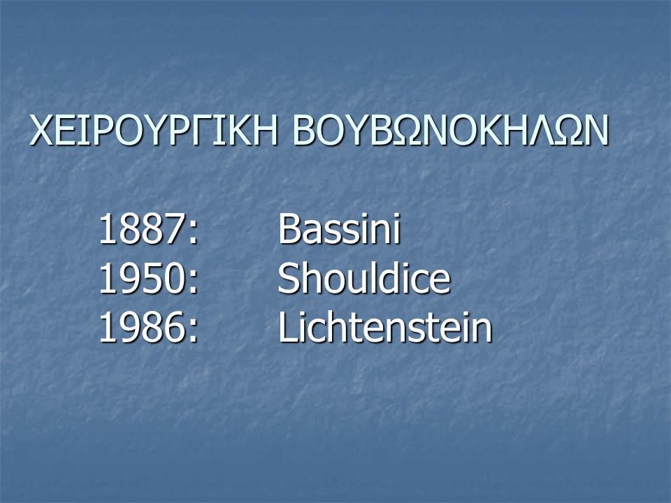 ΧΕΙΡΟΥΡΓΙΚΗ ΒΟΥΒΩΝΟΚΗΛΩΝ. 1887: Bassini. 1950: Shouldice
