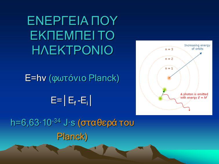 ΕΝΕΡΓΕΙΑ ΠΟΥ ΕΚΠΕΜΠΕΙ ΤΟ ΗΛΕΚΤΡΟΝΙΟ Ε=hv (φωτόνιο Planck) E=│Ef -Ei│ h=6,63∙10-34 J∙s (σταθερά του Planck)