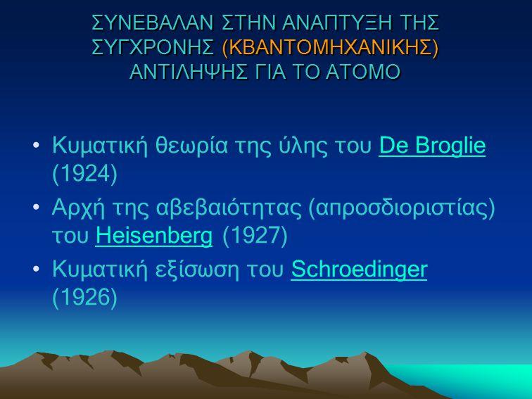 Κυματική θεωρία της ύλης του De Broglie (1924)