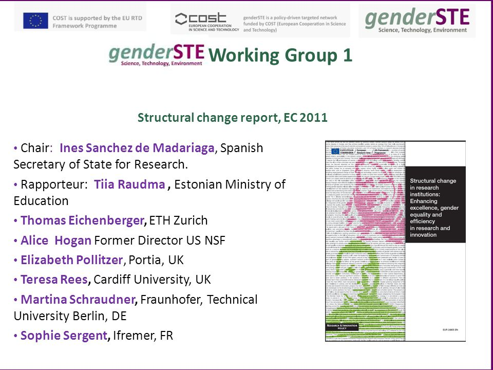 Working Group 1 Structural change report, EC 2011