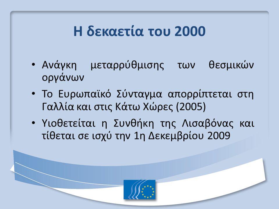 Η δεκαετία του 2000 Ανάγκη μεταρρύθμισης των θεσμικών οργάνων