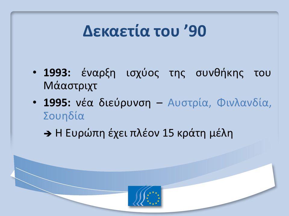 Δεκαετία του '90 1993: έναρξη ισχύος της συνθήκης του Μάαστριχτ