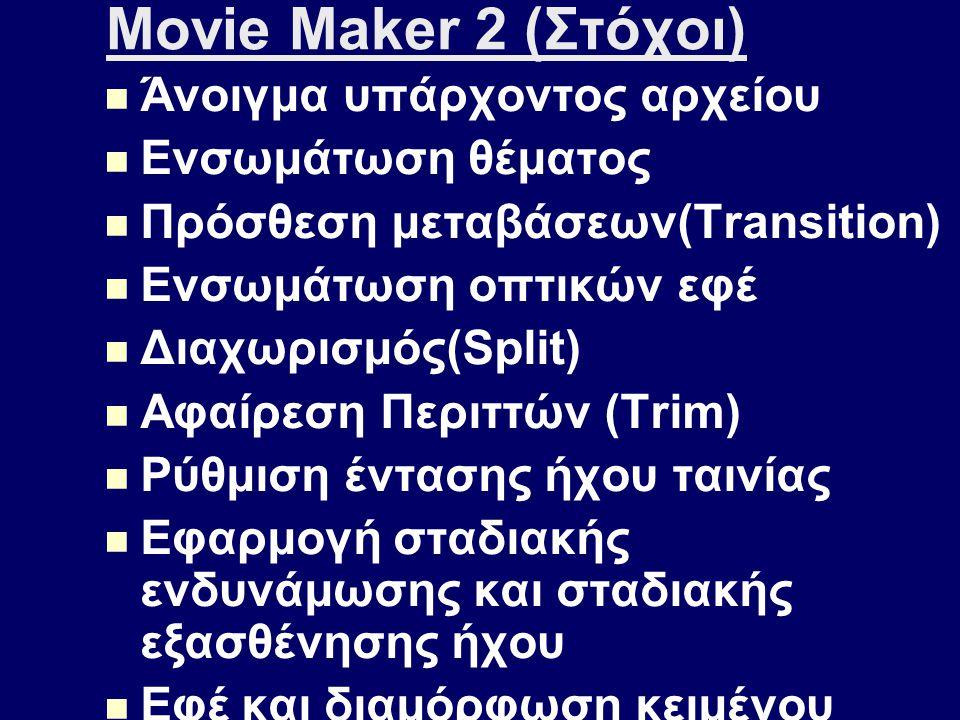 Movie Maker 2 (Στόχοι) Άνοιγμα υπάρχοντος αρχείου Ενσωμάτωση θέματος