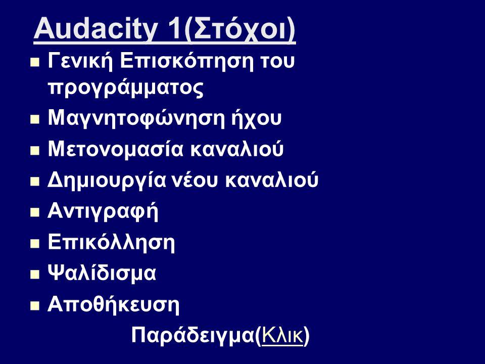 Audacity 1(Στόχοι) Γενική Επισκόπηση του προγράμματος