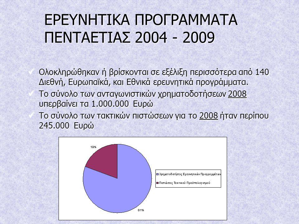 ΕΡΕΥΝΗΤΙΚΑ ΠΡΟΓΡΑΜΜΑΤΑ ΠΕΝΤΑΕΤΙΑΣ 2004 - 2009