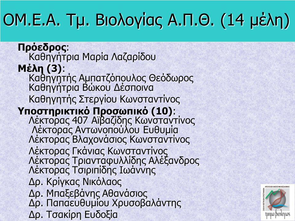 ΟΜ.Ε.Α. Τμ. Βιολογίας Α.Π.Θ. (14 μέλη)