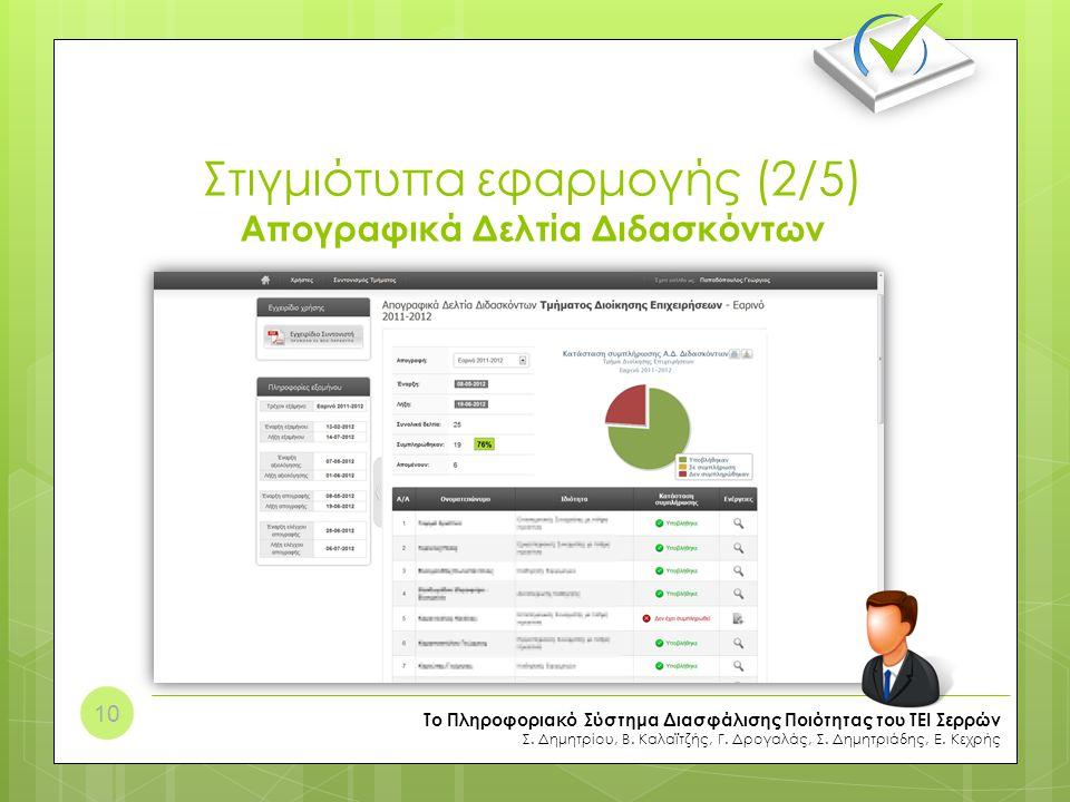 Στιγμιότυπα εφαρμογής (2/5) Απογραφικά Δελτία Διδασκόντων