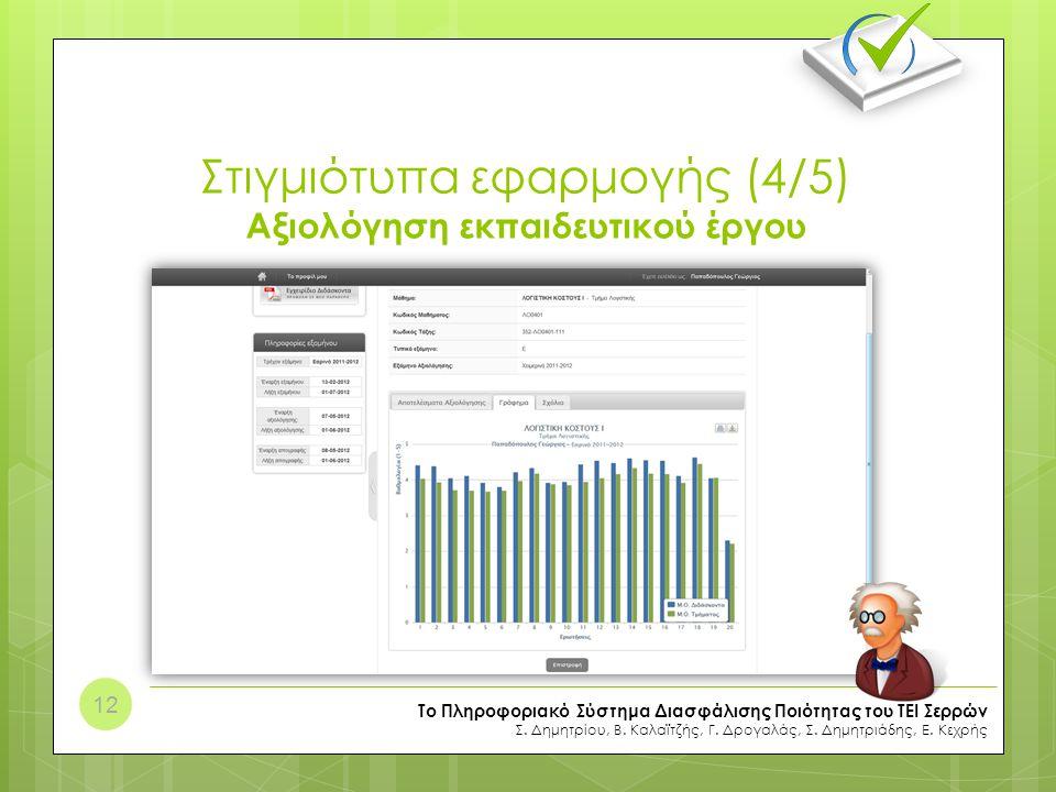 Στιγμιότυπα εφαρμογής (4/5) Αξιολόγηση εκπαιδευτικού έργου
