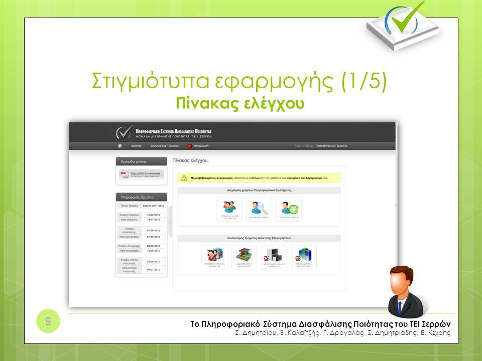 Στιγμιότυπα εφαρμογής (1/5) Πίνακας ελέγχου