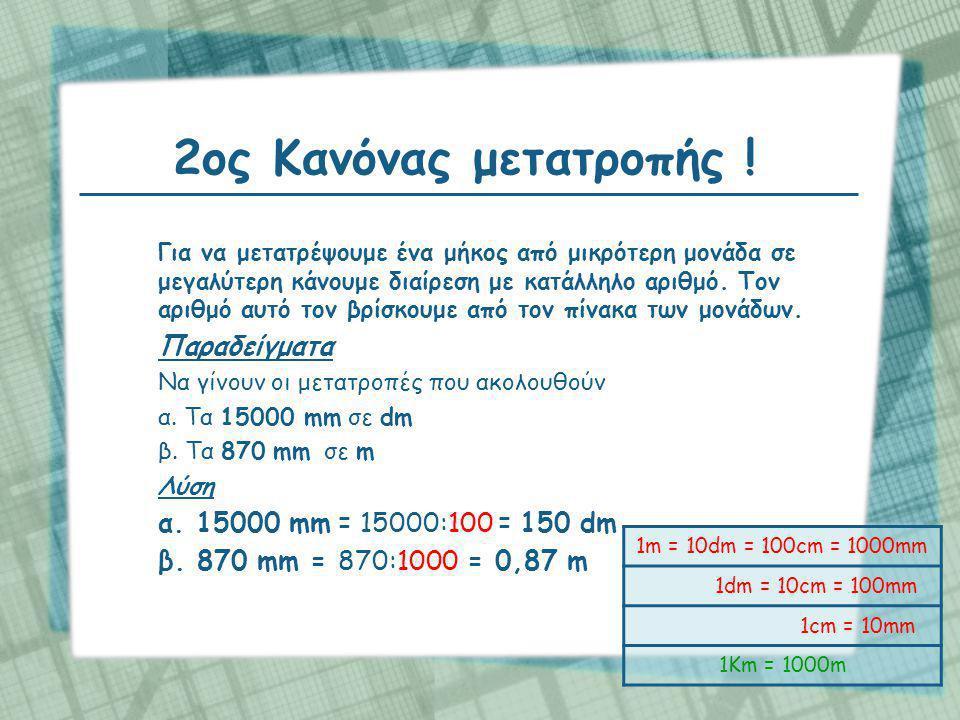 2ος Κανόνας μετατροπής ! β. 870 mm = 870:1000 = 0,87 m