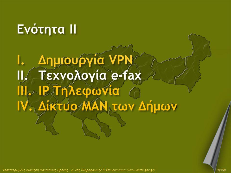 Ενότητα II Δημιουργία VPN Τεχνολογία e-fax IP Τηλεφωνία