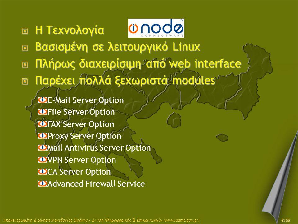 Βασισμένη σε λειτουργικό Linux Πλήρως διαχειρίσιμη από web interface