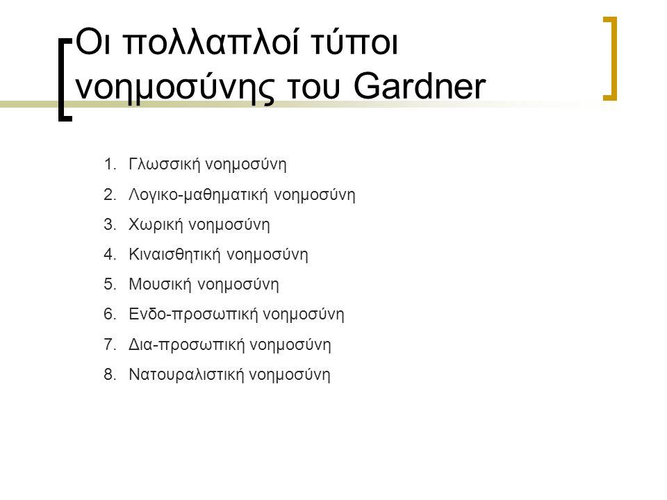 Οι πολλαπλοί τύποι νοημοσύνης του Gardner