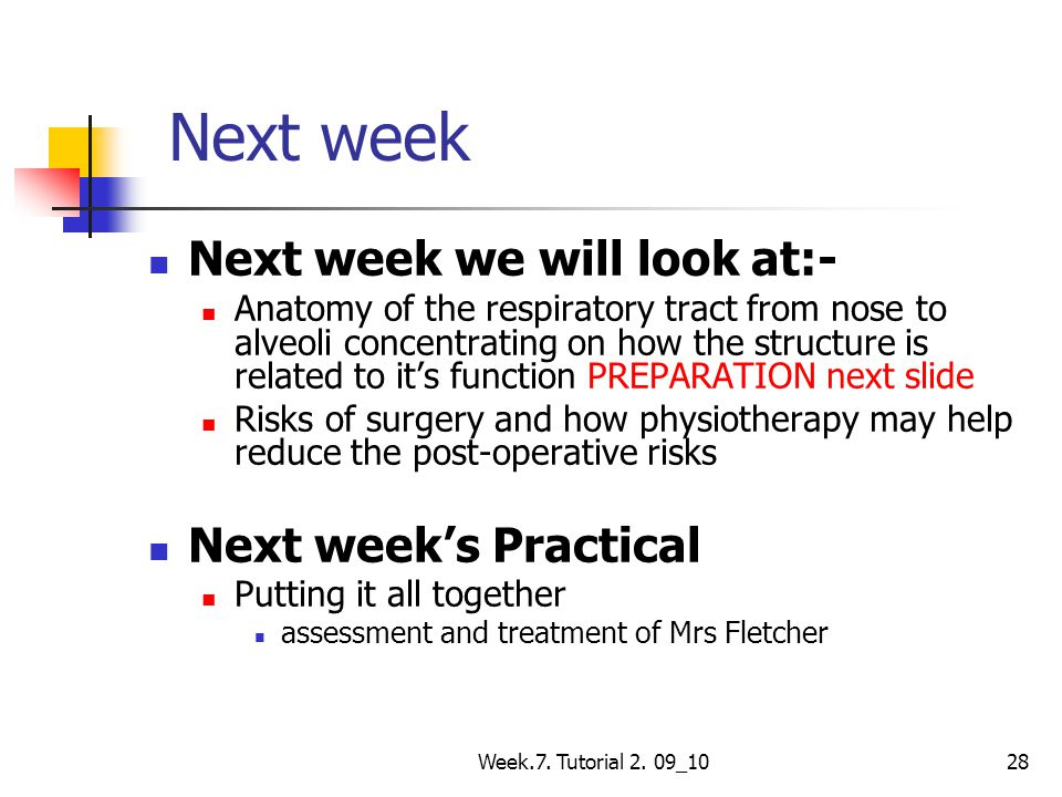 Next week Next week we will look at:- Next week's Practical