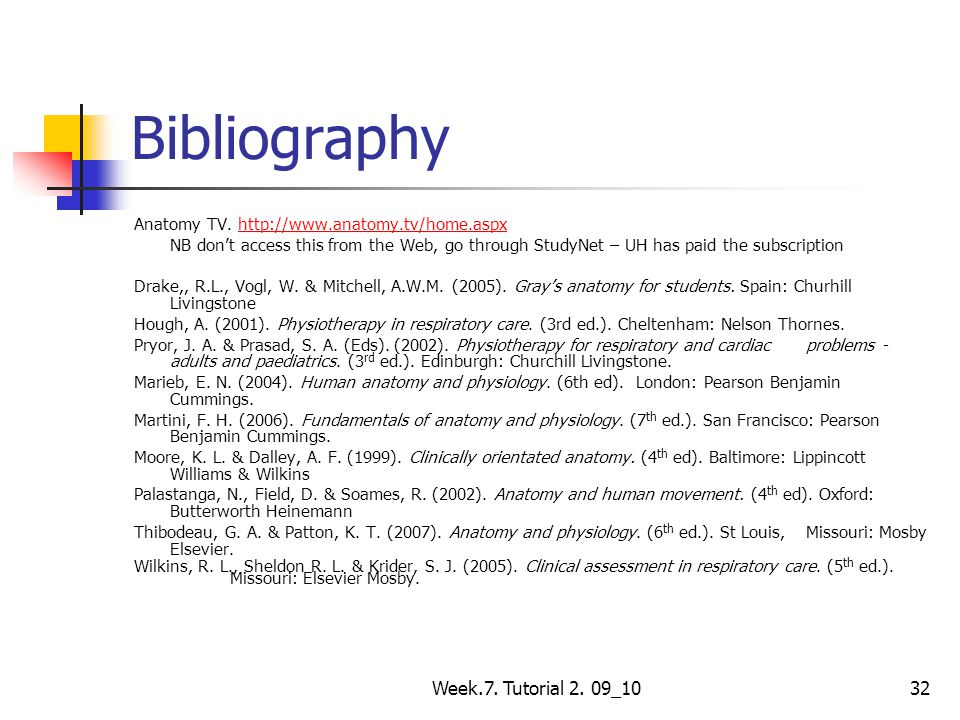 Bibliography Week.7. Tutorial 2. 09_10