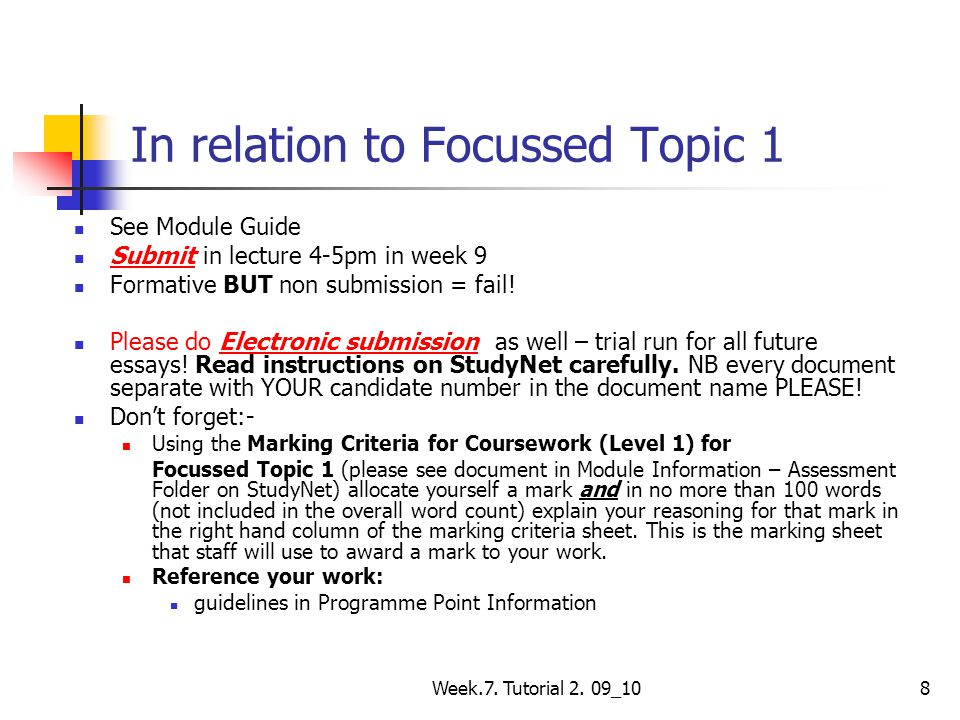 In relation to Focussed Topic 1
